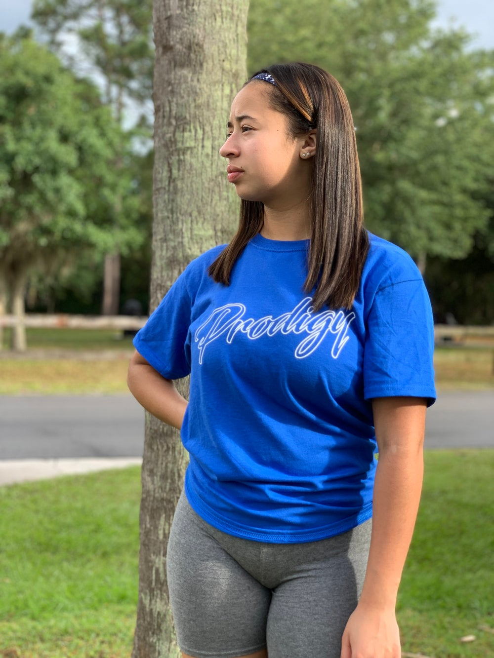 NEW BRAND PRODIGY ROYAL BLUE SCRIPT T/S WITH WHITE INK