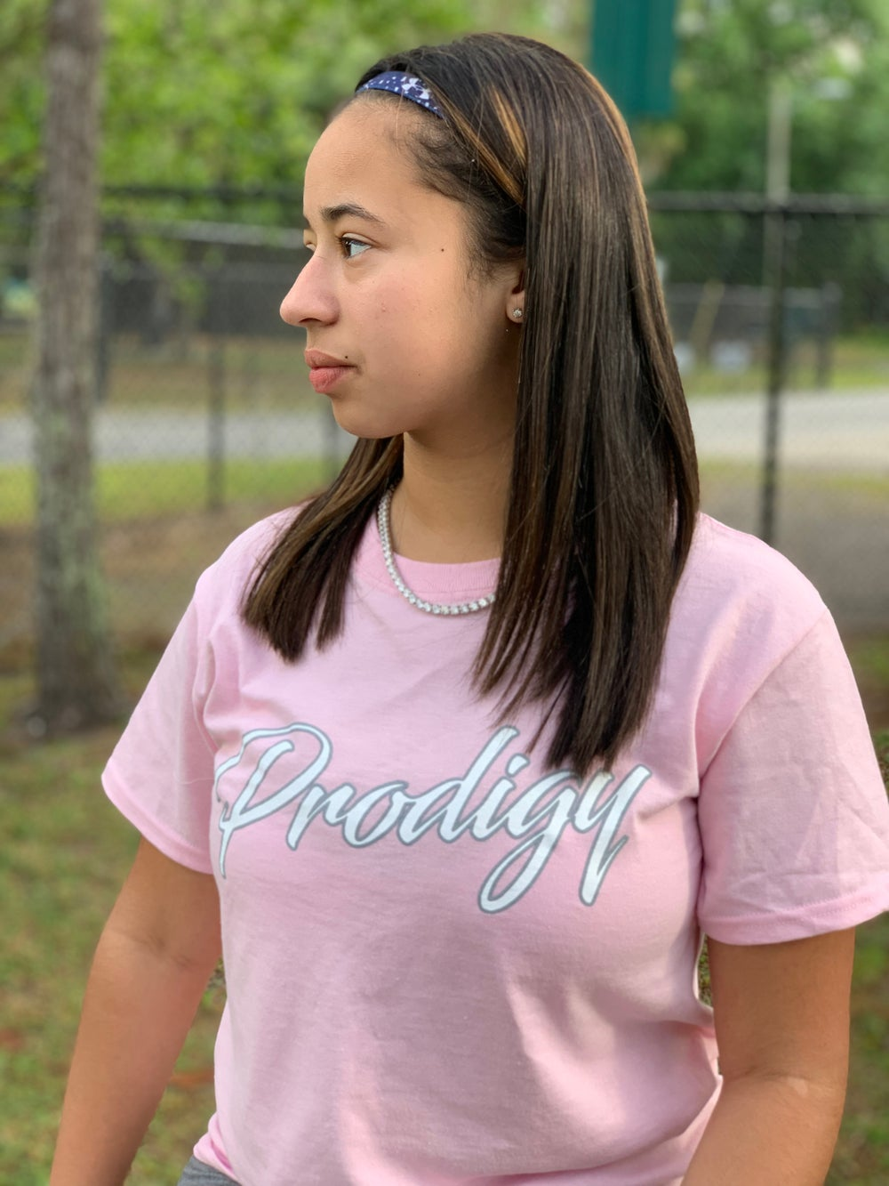 NEW PRODIGY SCRIPT CLASSIC PINK T/S WHITE & SILVER INK