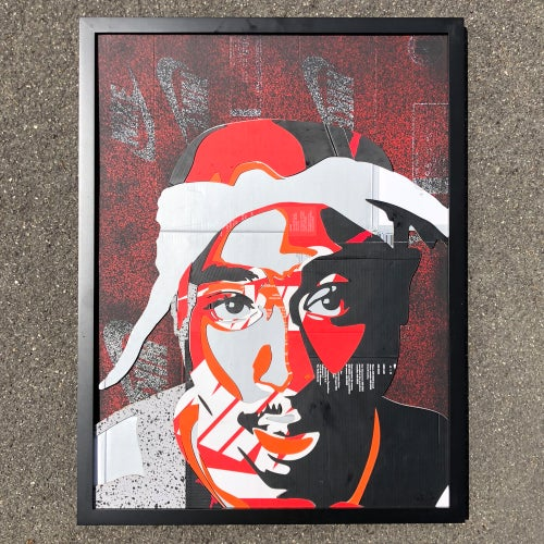 Image of  2 Pac Laser cut and stacked in frame