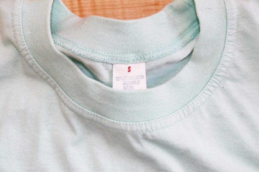 Image of Vintage 1990's Chanel Paris Tiffany Blue Embroidered T-Shirt Sz.S