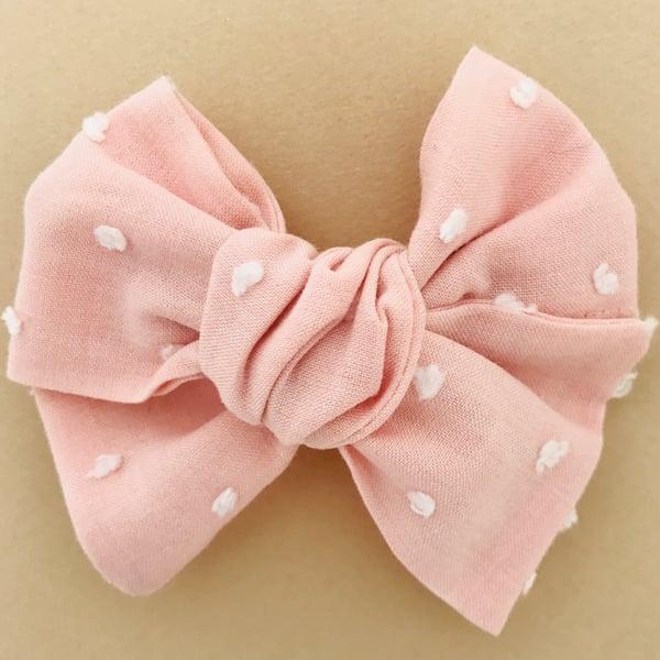 Image of Barrette voile de coton plumetis rose