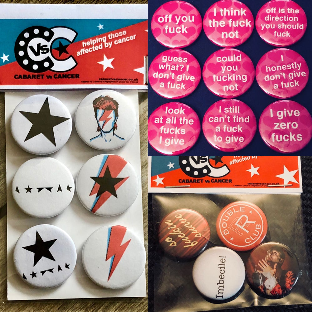 Image of Button Badge Sets! Including Bowie!!