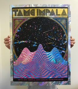Image of Tame Impala, Asheville, NC 05.03.19, SWIRLORAMA FOIL EDITION for Luis