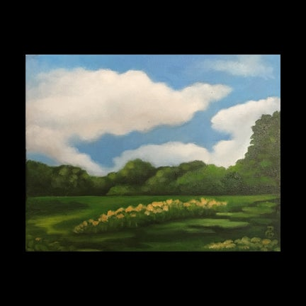 Image of Oil Painting Edge of Field Red Hook New York Hudson Valley
