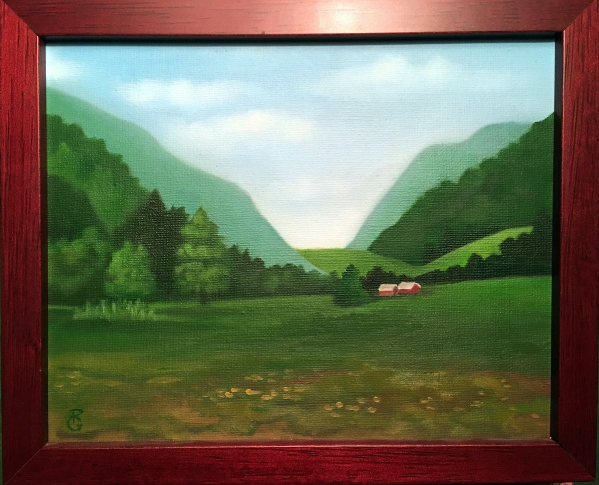 Image of Oil Painting on Linen The Notch circa 1900 Hunter Mountain New York