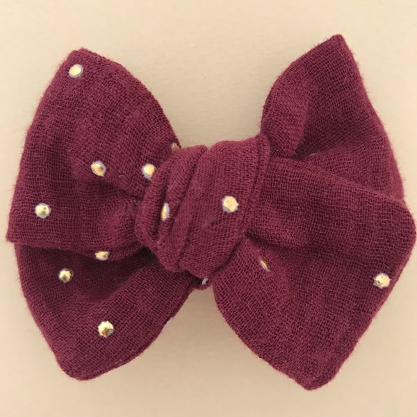 Image of Barrette double gaze bordeaux pois dorés