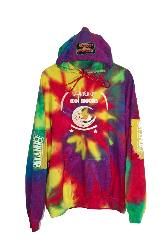 "Image of ""LIGHT UP"" rainbow tie-dye hoodie"