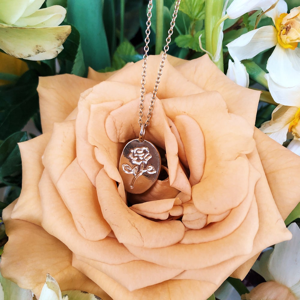 Image of Rose Medallion Pendant Necklace