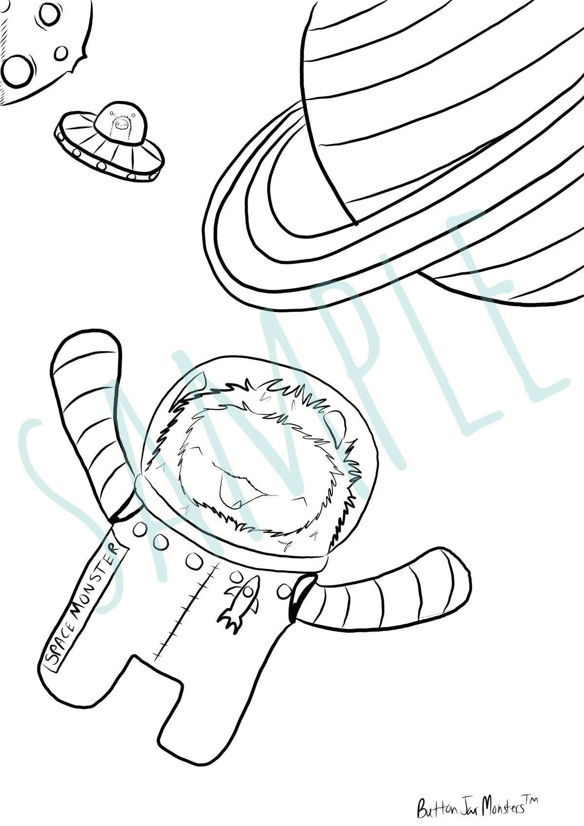 Image of Monsters In Space Coloring Sheet