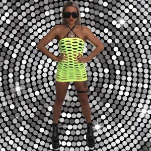 Image of Atomic Blonde neon yellow lime dress