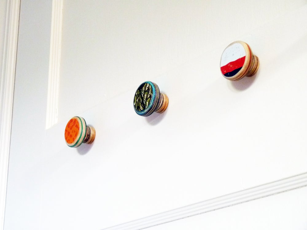 Image of Small and Short - SkateDot - Recycled Skateboard Round Dot Wall Hook.