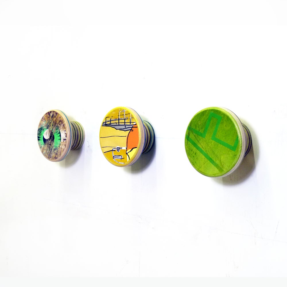 Image of Large and Short- SkateDot - Recycled Skateboard Round Dot Wall Hook.