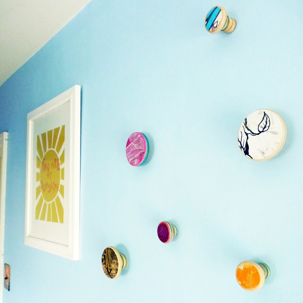 Image of Large and Long - SkateDot - Recycled Skateboard Round Dot Wall Hook.