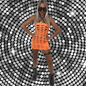 Image of EXTRA HEAT neon orange bandeau dress