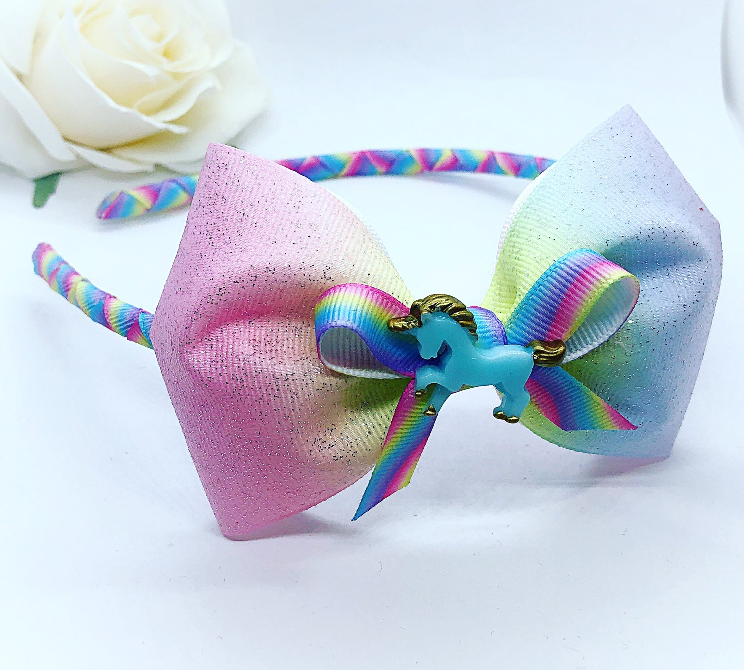 Image of Pastel rainbow unicorn aliceband
