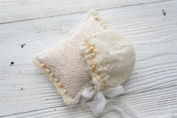 Image of Ivory bonnet or pillow/ newborn size
