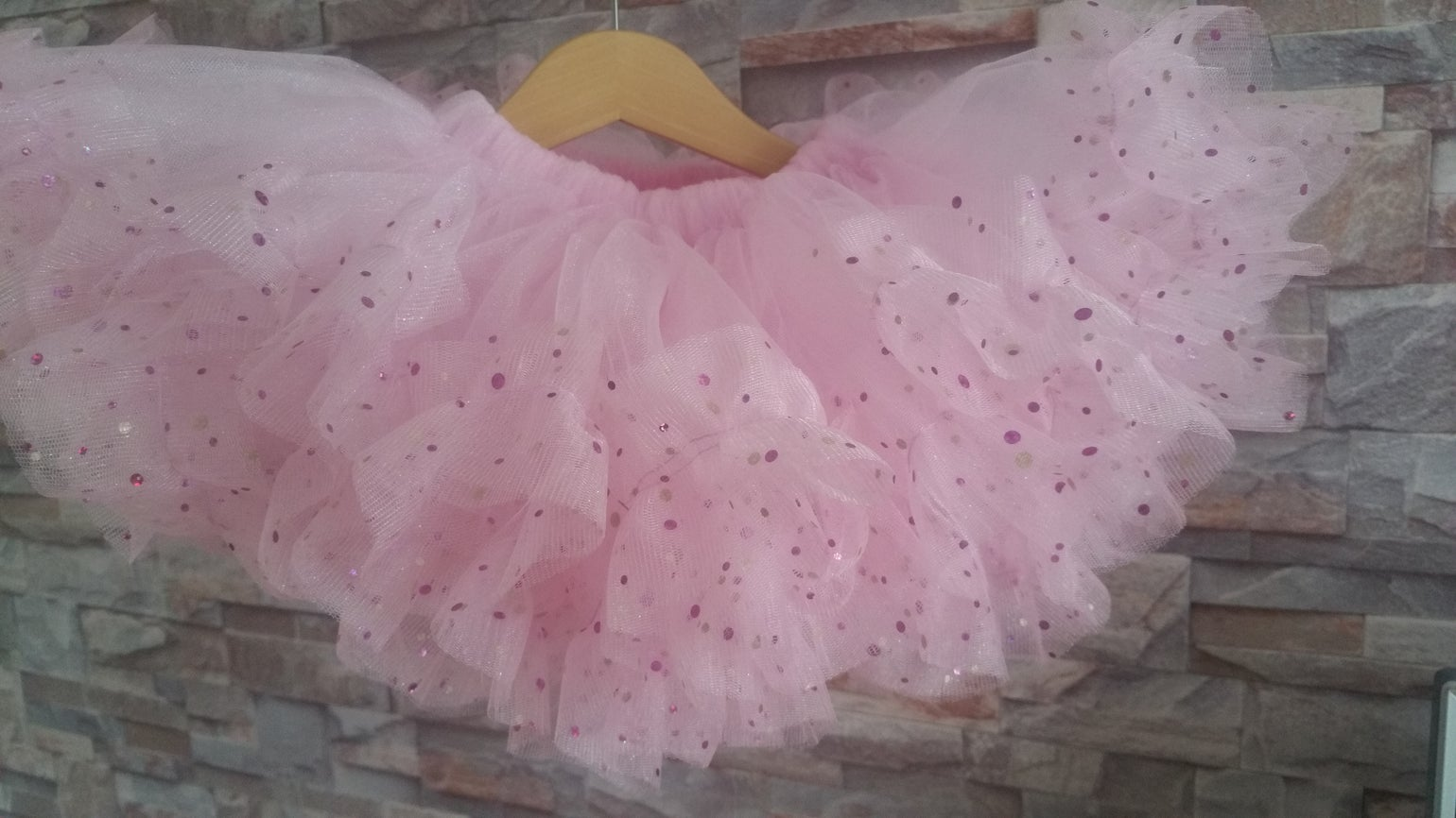 Image of Pink Shimmer Sparkle Ruffle Edge