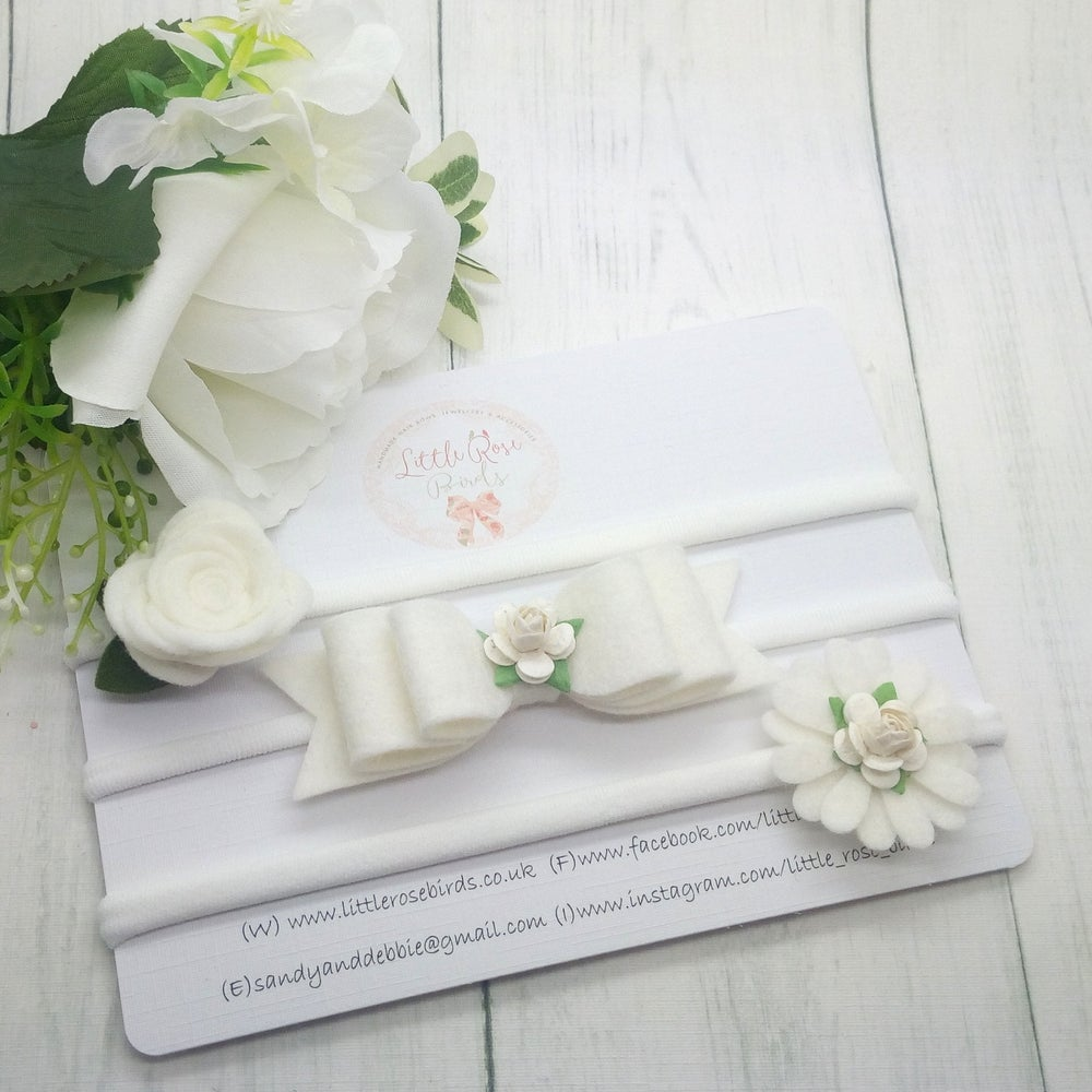 Image of SET OF 3 White Headband or Clip Set