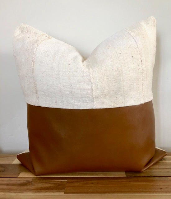 Image of Sebastian Vegan Leather and Mud cCloth - Pillow Cover