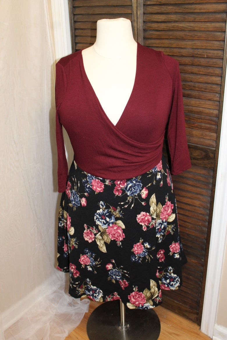 Image of Floral Faux Wrap Dress