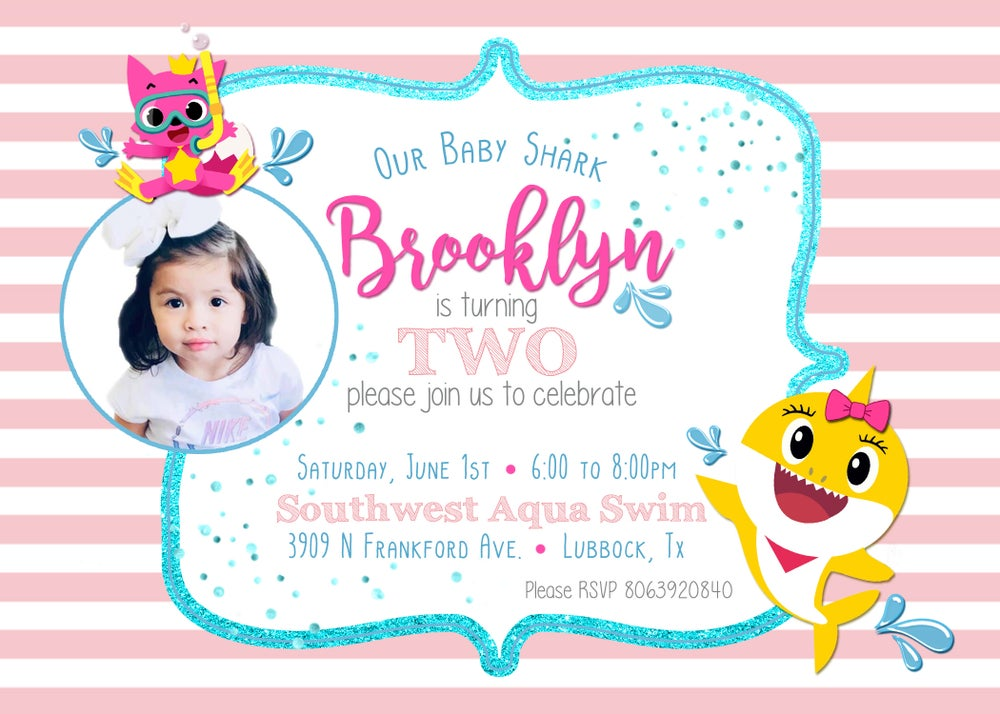 Image of Baby Shark Birthday Invitation