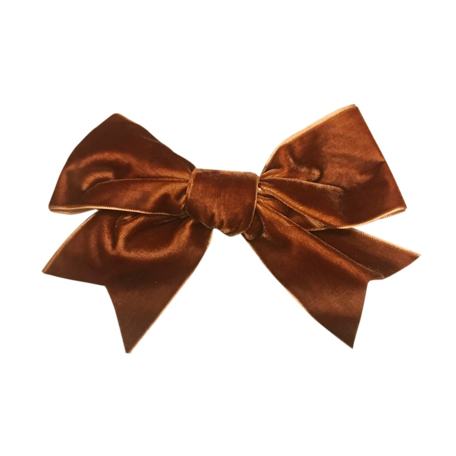 Image of Burnt Caramel French Velvet Grand Bow Clip
