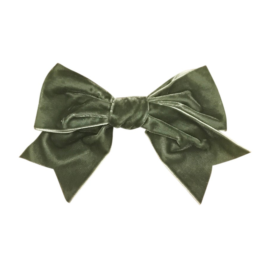 Image of Moss French Velvet Grand Bow Clip