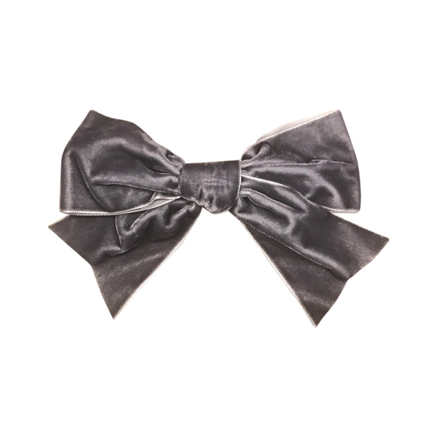 Image of Smoke French Velvet Grand Bow Clip