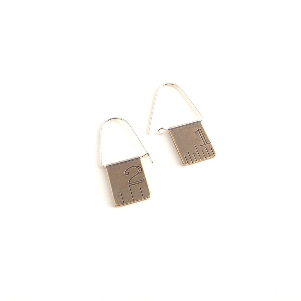 Image of Ruler swing hoops ~brass or sterling