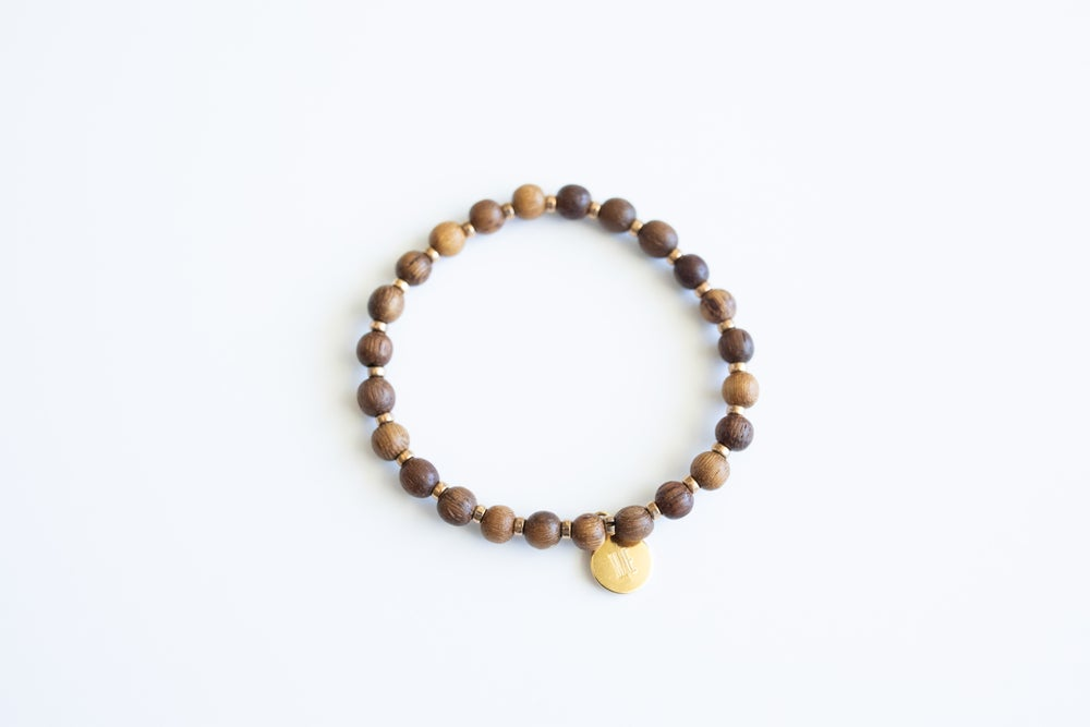 Image of Dark brown w/gold bead nuggets single 2