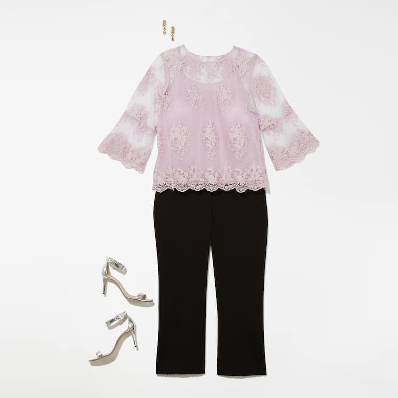 Image of Lilac Floral Mesh Top