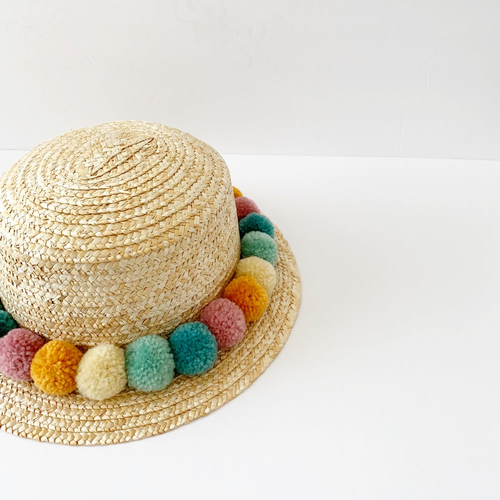 Image of Rainbow Pom Boater Hat - Muted