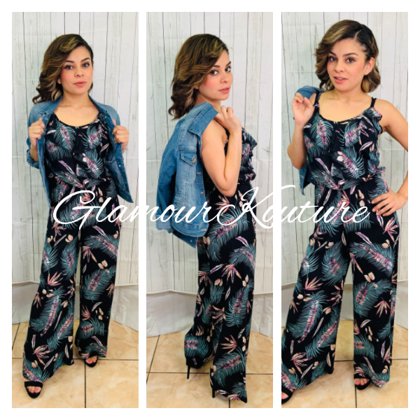 Image of Tropical Front Ruffle Jumpsuit