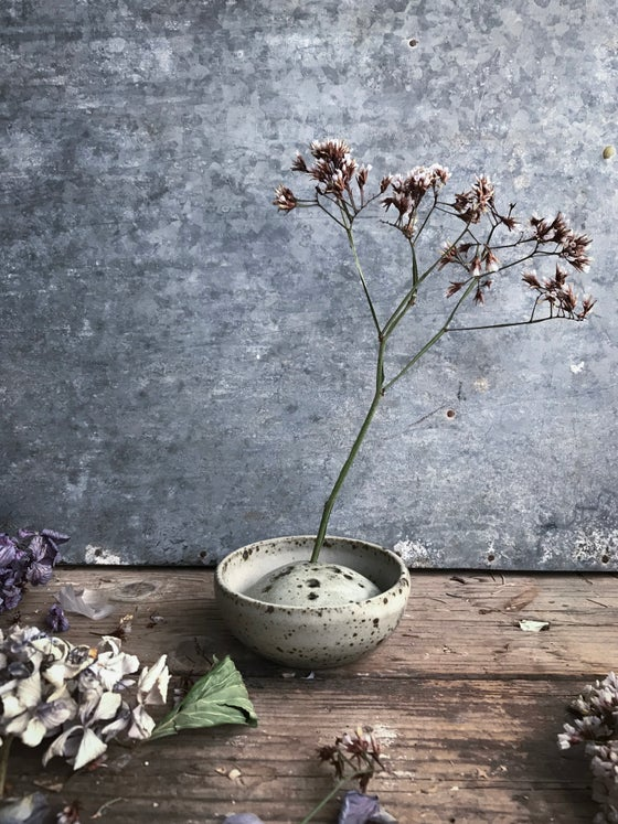 Image of Frog and water dish for small flower arrangements (iii)