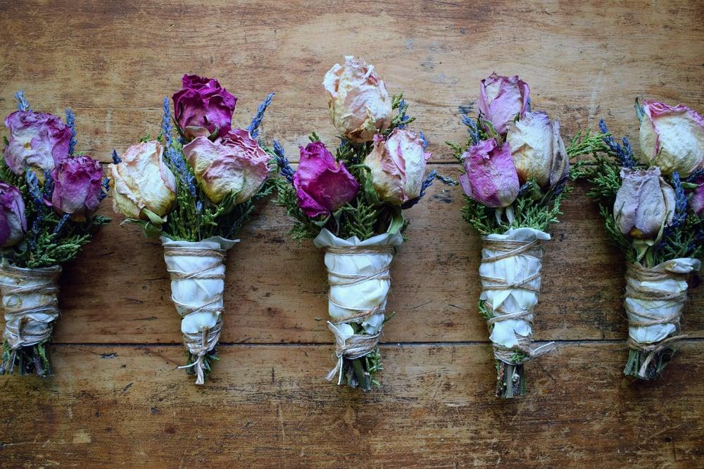 Image of Juniper Rose Sacred Smudge Wand | Lavender Smudge | floral smudge bundle