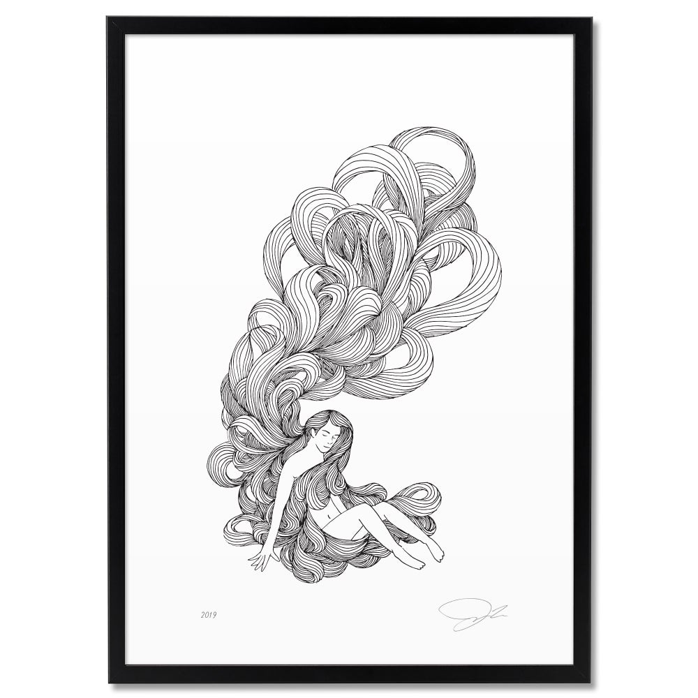 Image of Print: Girl with Long Hair
