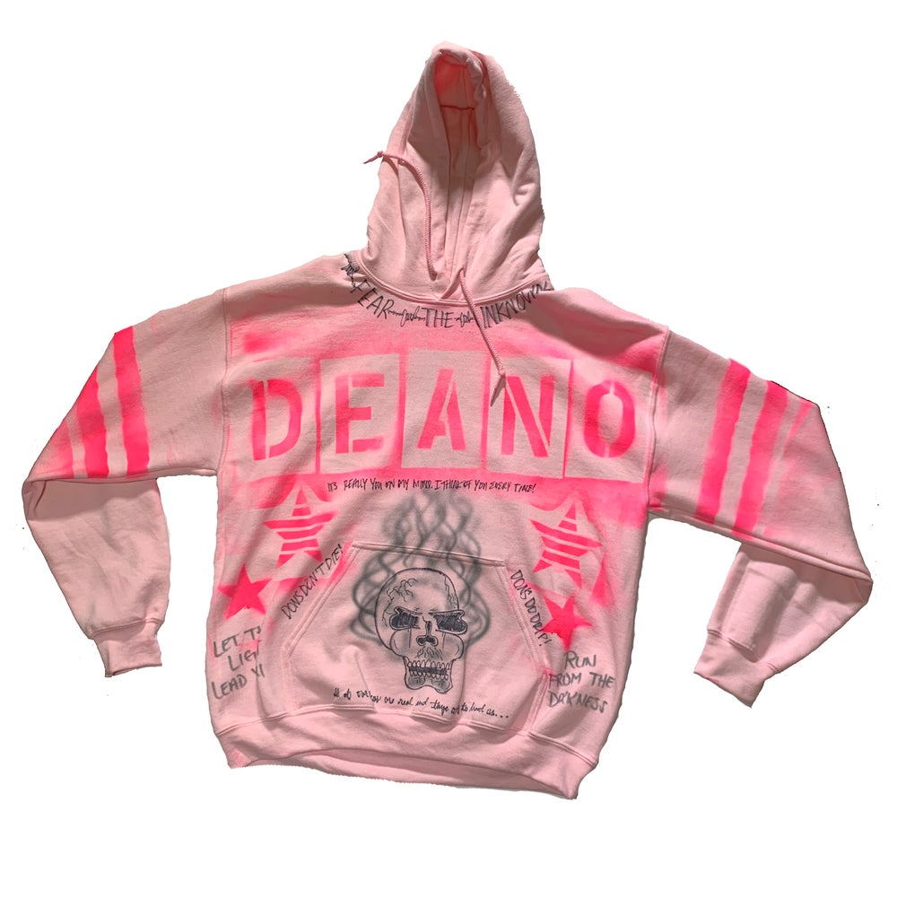 "Image of Pink "" Stamped"" Bad Ending  Hoodie"
