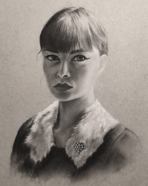 Image of Portrait sketch of Lacy Soto - Drawing on toned paper