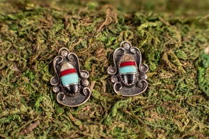Image of Vintage Set of Sterling Silver & Precious Stone Pendants