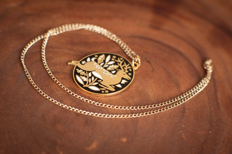 Image of Papio Press : Gold Enamel Stag Necklace