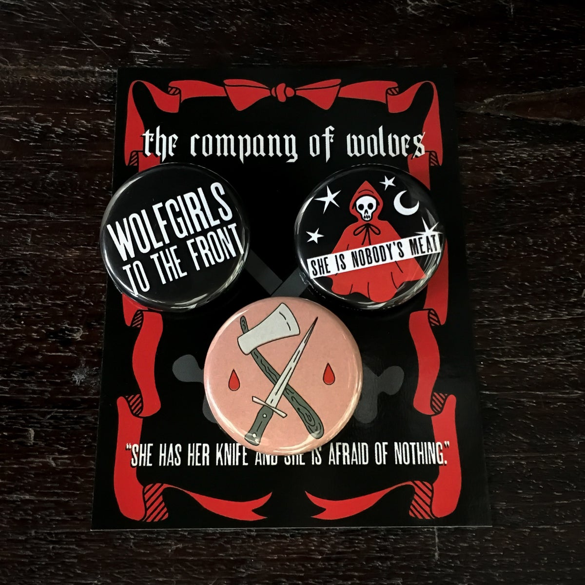Image of She Is Nobody's Meat button set