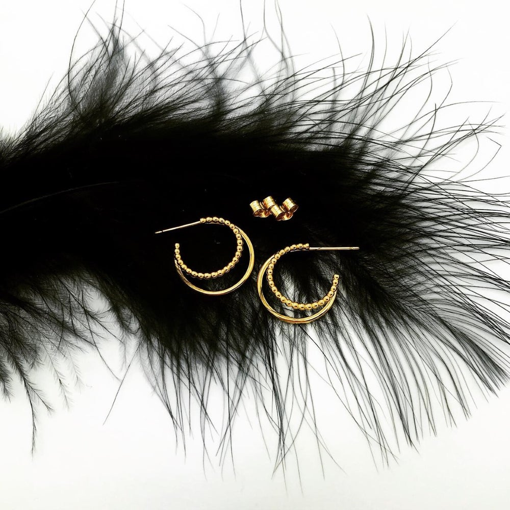 Image of Gold double hoops