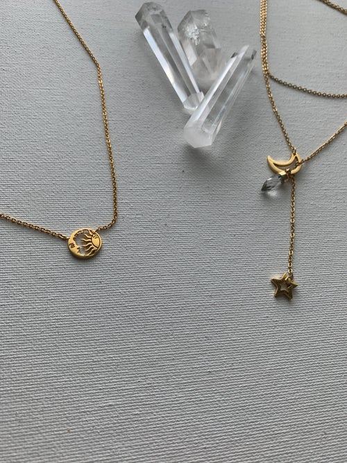 Image of CELESTE • Moon Sun Star Necklace Set w/ Quartz