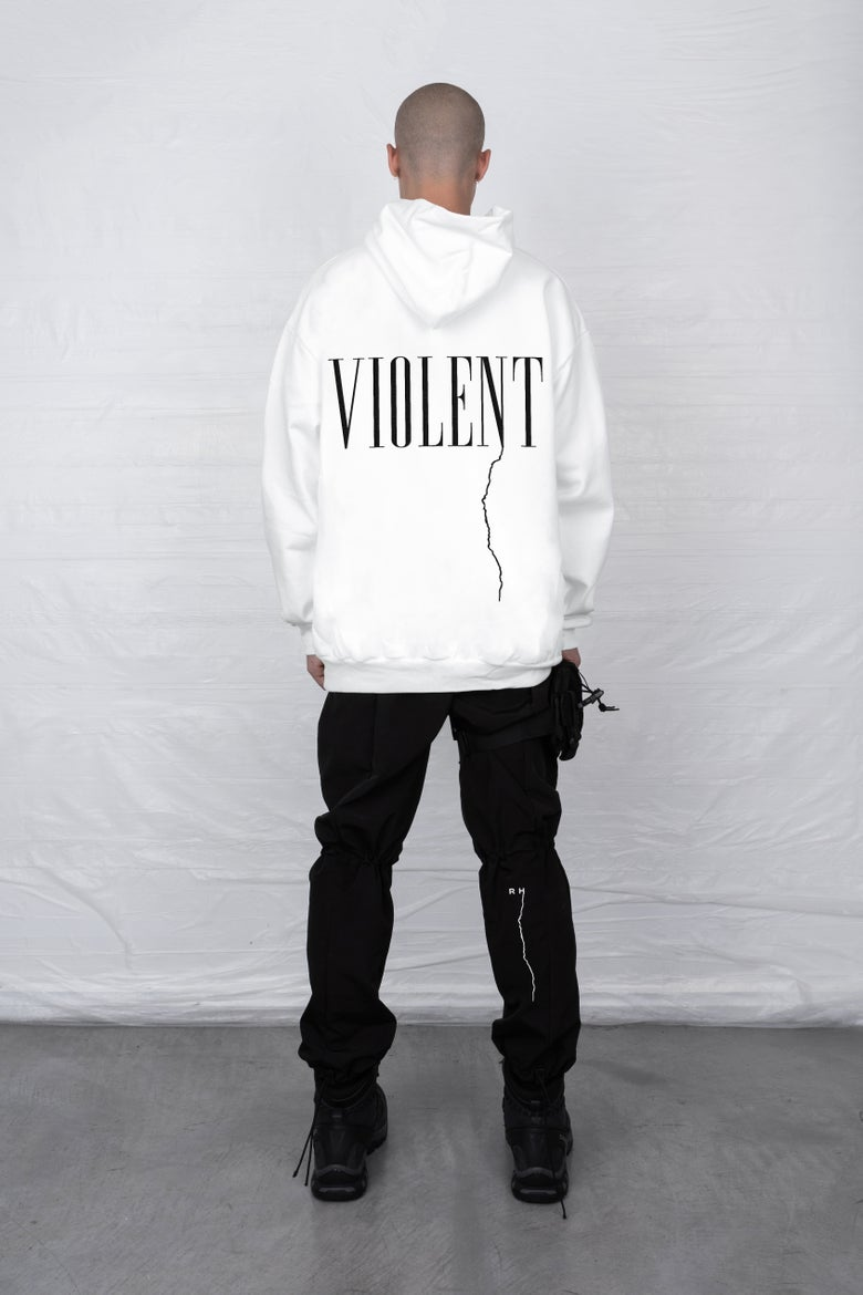 Image of WHITE VIOLENT HOODED SWEATSHIRT