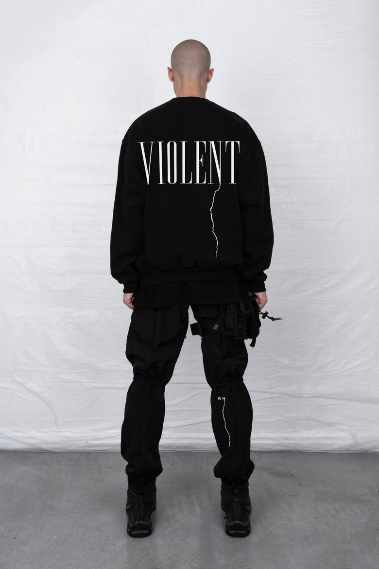 Image of BLACK VIOLENT CREWNECK SWEATSHIRT