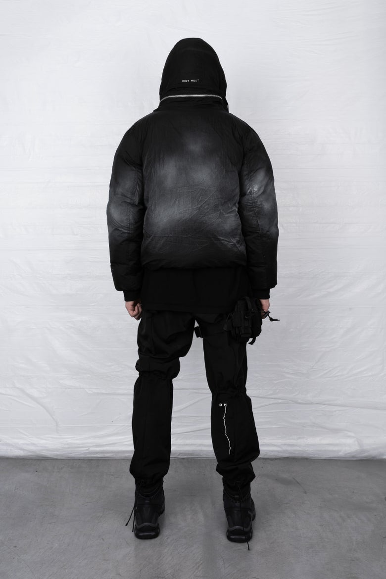 Image of BLACK MIST CARGO PUFFER JACKET