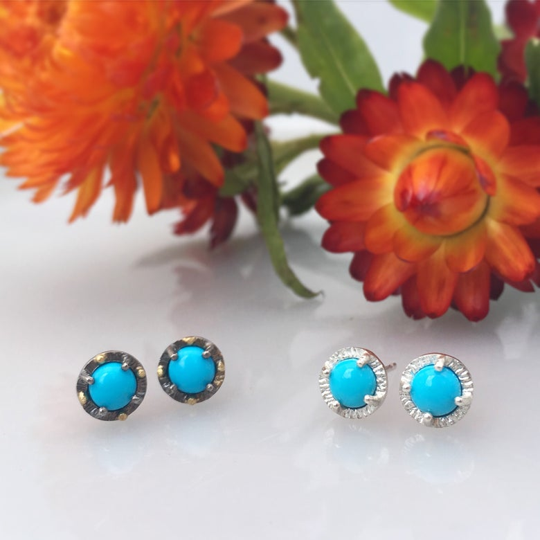 Image of sleepy beauty turquoise juju studs