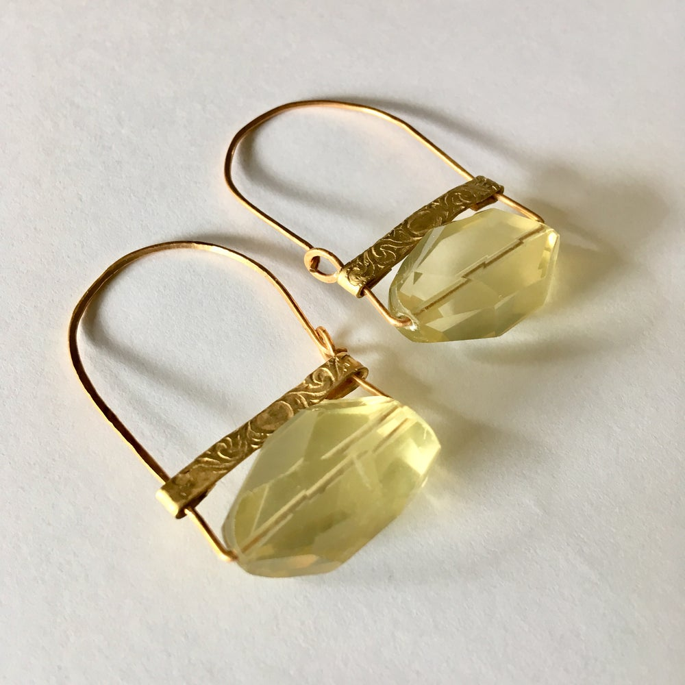 Image of Lemon Quartz Nugget Hoops