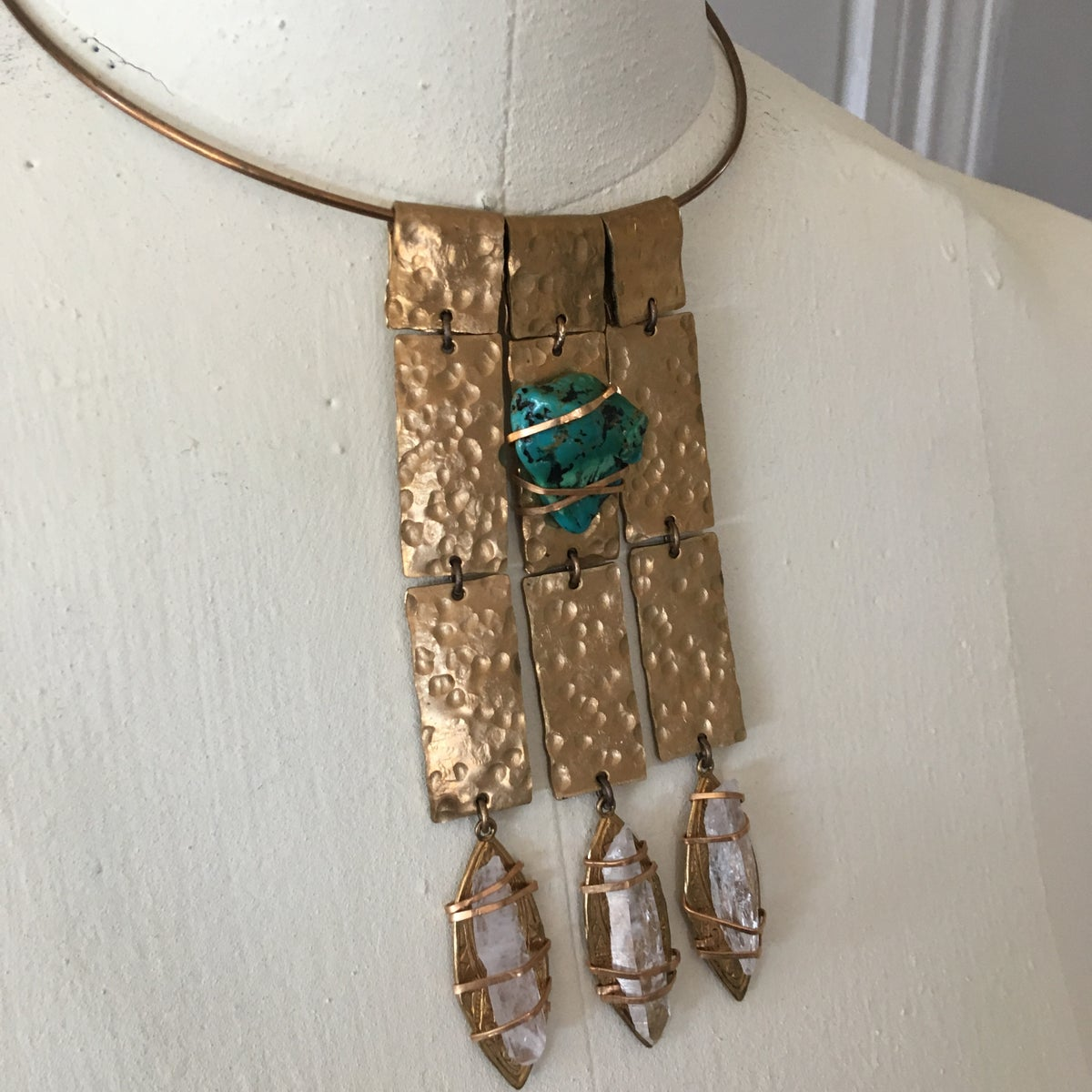 Image of Hammered Turquoise/Quartz Goddess