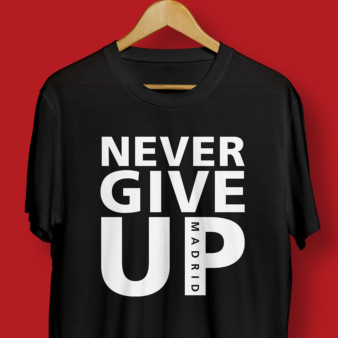 Image of NEVER GIVE UP Tee - Madrid 2019 (black)